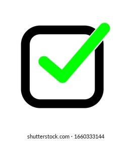 green check mark in black check box. tick right symbol isolated on white background. vector illustration