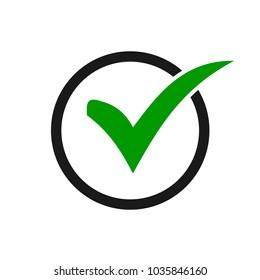 Green check mark icon in a black circle. Check list button icon