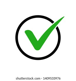 Green check mark icon in a black circle. Tick symbol in green color, vector illustration.