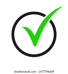 Green check mark icon in a black circle. Over white background
