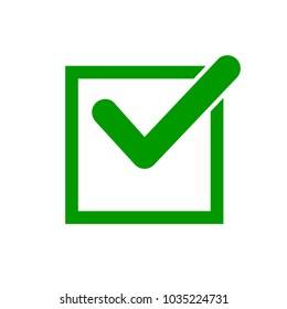 Green check mark icon in a box. Check list button icon
