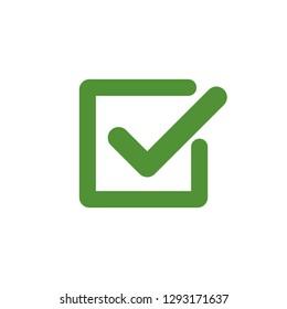 Green check mark icon in a box. Tick symbol in black color, vector illustration.