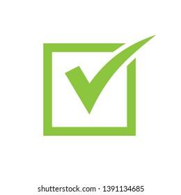 Green check mark icon in a box. Tick symbol in green color. check icon vector. check list button icon