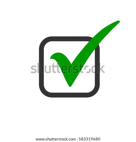 Green Check Mark Icon Box Tick Stock Vector Royalty Free 583319680