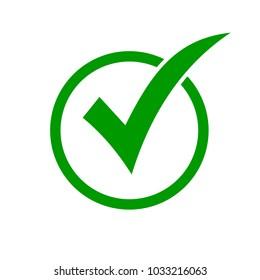 Green check mark icon in a circle. Check list button icon