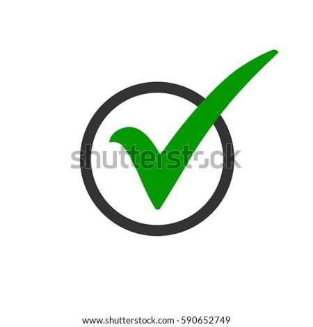 Green Check Mark Icon Circle Tick Stock Vector Royalty Free