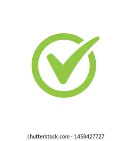 Green check mark icon set. Circle vector illustration