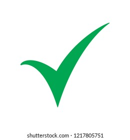 Green check mark icon. Tick symbol in green color, vector illustration.