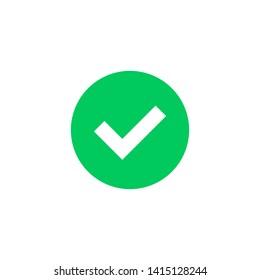 Green check mark icon. Green tick symbol. Vector check icon