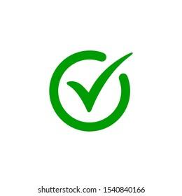 Green check mark icon. Tick symbol in green color, vector illustration.