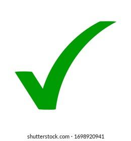 Green check mark icon. Tick symbol in green color, vector illustration. eps 10