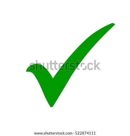 Green Check Mark Icon Tick Symbol Stockvector Rechtenvrij