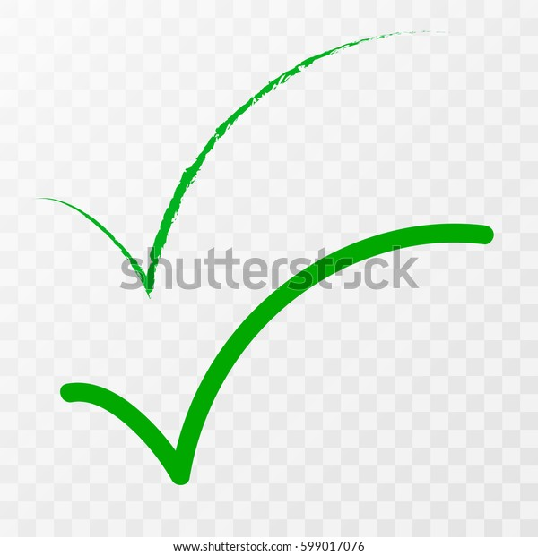 Green check mark icon. Tick symbol in green color, vector illustration