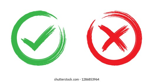 Green check mark OK and Red X icons ,Tick and cross signs, symbols YES and NO button for vote, decision Vector handwriting illustration isolated on white background.