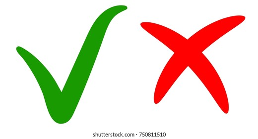 green check mark, ok sign of approval, right choice, red cross sign reject, vector tick and cross hand drawn calligraphic brush