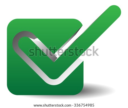 Green Check Mark Over Square Tick Vector De Stock Libre De Regalias