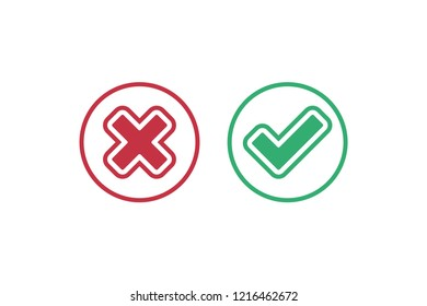 Green check mark and red cross