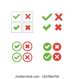 Green check mark and red cross, vector icons