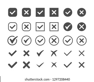 Green check mark and red cross icon set. Circle and square. Tick symbol in green color, vector illustration