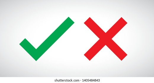 Green check mark and red cross. Right and wrong. Vector illustration - Vector