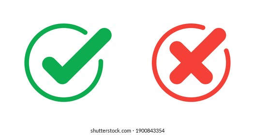 Green check mark and red cross icon.Set of simple icons in flat style:  Yes-No,  Approved-Disapproved, Accepted-Rejected, Right-Wrong, Correct-False, Green-Red, Ok-Not Ok. Vector illustration