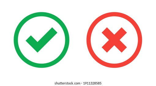 Green check mark and red cross icon.Set of simple icons in flat style: Yes-No, Approved-Disapproved, Accepted-Rejected, Right-Wrong, Correct-False, Green-Red, Ok-Not Ok. Vector illustration.