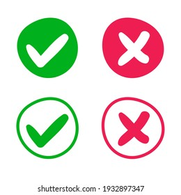 green check mark and red cross web buttons,hand written vector illustration.