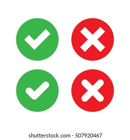 Green Check Mark and Red Cross in two variants (square and rounded corners) - Isolated Vector Illustration