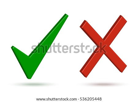 Green Check Mark Red Cross Vector