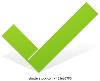 Green check mark, tick icon with snick and shadow isolated on white. Approve, OK, correct, confirm icon