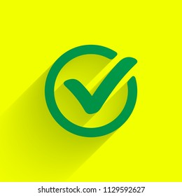 Green check mark. Tick symbol, icon, sign or web button. Vector.