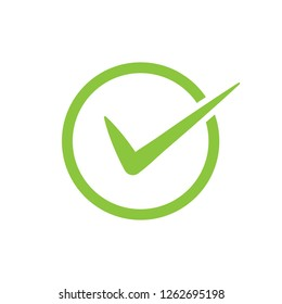 Green check mark vector icon in a circle. Tick symbol in green color for your web site design, logo, app, UI. illustration
