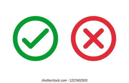 green check and red cross symbols, round thin line vector signs
