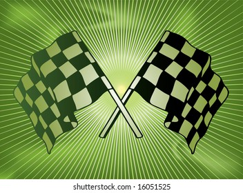Green checkered flag background with a star burst in green