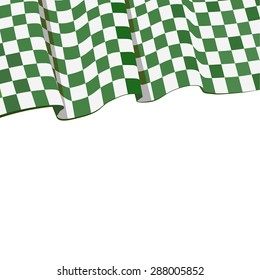 Green Checkered flag racing. Racing flag in left corner. Vector wave racing flag isolated on white