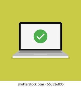 Green checkmark icon on computer screen. Modern flat vector illustration.
