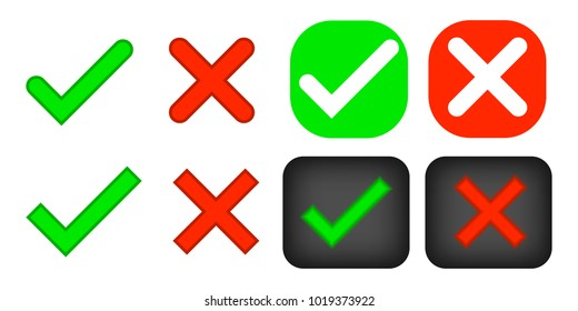 Green checkmark OK and red X icons, isolated on white background. Marks design. symbols YES and NO button for vote, decision, web. Simple marks graphic design.  Vector illustration
