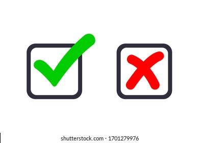 green checkmark and red cross icon. symbol of approved and reject.
