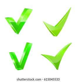 Green checkmark set. Vector