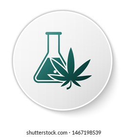 Green Chemical test tube with marijuana or cannabis leaf icon isolated on white background. Research concept. Laboratory CBD oil concept. White circle button. Vector Illustration