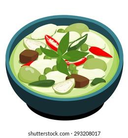 Green Chicken Curry popular Thai food vector illustration