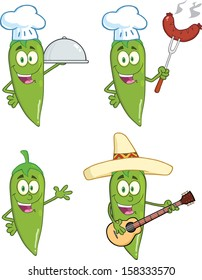 Green Chili Peppers Cartoon Characters 1. Vector Collection Set