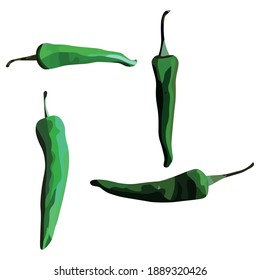 Green Chilis Vegetable Illustration Vector Set Taken Several Angles Isolated On White Background Good To Use For Food Magazine, Brochure And Ingredients