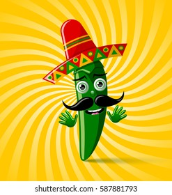 Green chilli pepper character with sombrero hat on twisted background