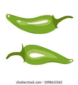 Green chilli pepper isolated on white backgroung. Hand drawn pepper in cartoon style