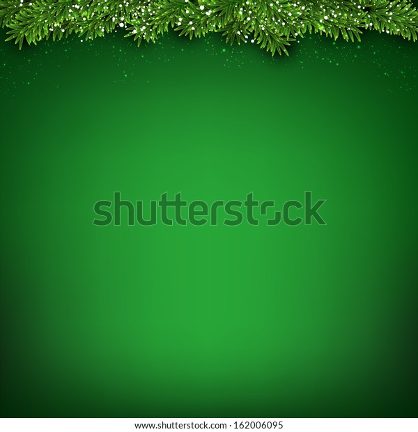 Green christmas background with fir and snowflakes. Vector illustration.