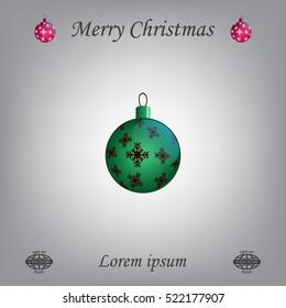 Green Christmas ball with snowflakes