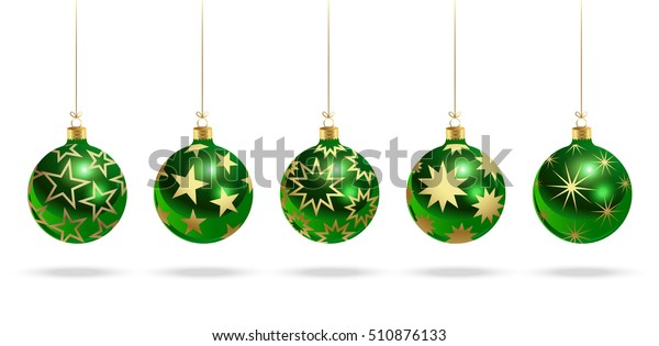 Green christmas balls with stars. Set of isolated realistic scenery. Vector illustration.