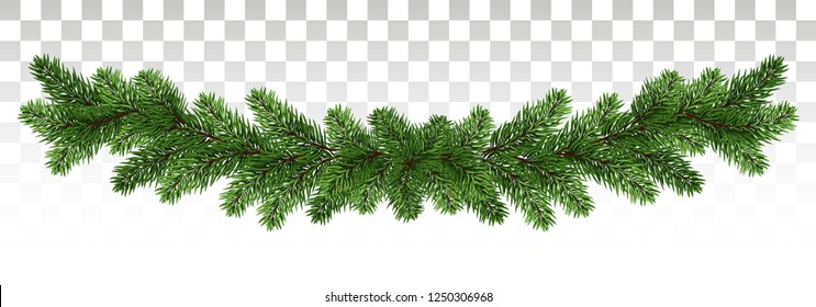 Green Christmas border of pine branch. Xmas garland decoration effect. Border of branch christmas tree. Vector. Eps10.