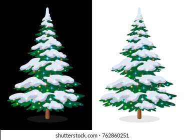 Green Christmas Fir Tree with Snow and Bright Colourful Magic Stars, Holiday Winter Symbol, Isolated on White and Black Background. Eps10, Contains Transparencies. Vector